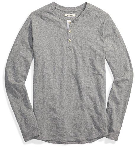 Amazon-Marke: Goodthreads Herren Long-sleeve Slub Henley , Grau (heather grey), Medium (Herstellergröße: )