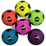 Atomic Athletics 6-Pack of Neon Rubber Playground Soccer Balls – Bulk Set of Youth Size 4, 8' Balls with Air Pump & Mesh Storage Bag – Great for Backyard, Playground, Team Sports, Gym Class & Recess