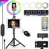 Luz de anillo de selfie RGB de 10 pulgadas con trípode y soporte para teléfono JACYKLED 26 colores RGB Flash Ring Light para fotografía YouTube Video Maquillaje Compatible para iPad/iPhone
