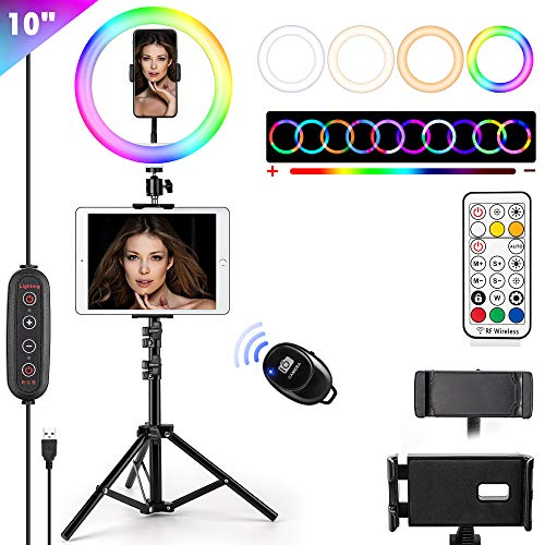 """10"""" RGB Selfie Ring Light with Tripod Stand & Phone Holder JACYKLED 26 Colors RGB Flash Ring Light for Photography YouTube Video Makeup Compatible for iPad/iPhone"""