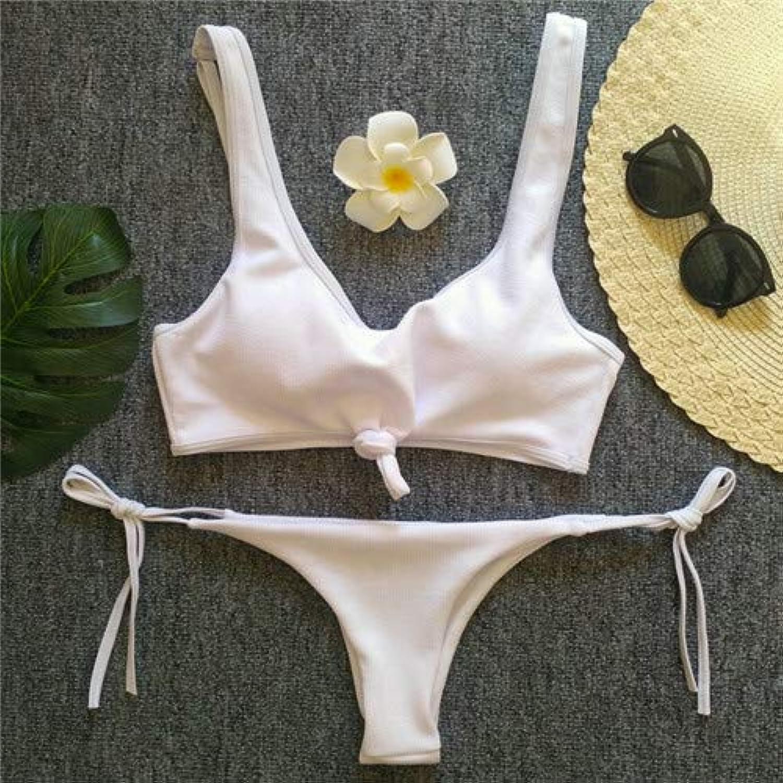 HITSAN 2018 New Bikini Women Swimwear Push up Swimsuit Brazilian Bikini Set Thong Bathing Suit Summer Beach Wear Swim Wear Female color White Size L
