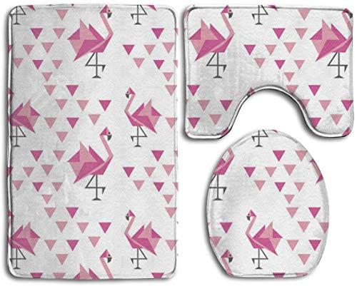 Kay Sam Bathroom Rugs Bath Mats Geometric Pattern with Japanese Origami Flamingo Toilet CarpetFashion Bathroom Rug Mats Set 3 Piece Anti-Skid Pads Bath Mat + Contour + Toilet Lid Cover