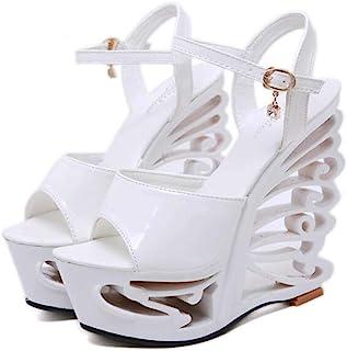 Women's Buckle PlatformSandals,Summer Rhinestone PeepToe Sandals,Ladies Fish-BilledSandals Pumps Shoes