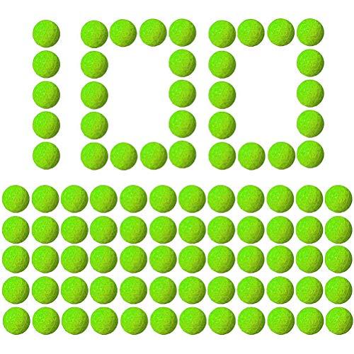 BSTiltion 100 Piezas 2,3cm Munición De Espuma, Recarga De Munición Redonda De Pu Reemplazar Paquete De Bolas De Bala Juguetes Para Niños, Bola De Espuma, Buena Elasticidad, Gran Alcance, Verde