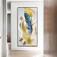 キャンバス絵画北欧のカラフルな羽抽象芸術壁の写真家の装飾ポスターとリビングルームのプリント40X80cmフレームレス