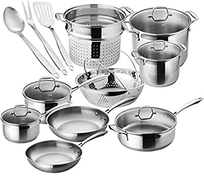 Chef's Star Premium Pots and Pans Set - 17 Piece Stainless Steel Induction Cookware Set