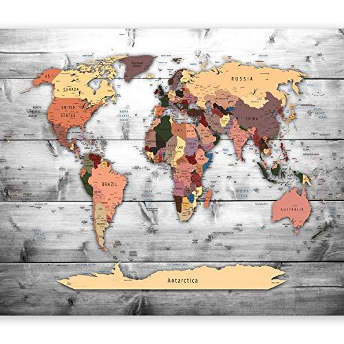 murando – Papier peint intissé 200x140 cm – Papier peint – Tableaux muraux déco XXL – Carte du monde k-B-0009-a-c