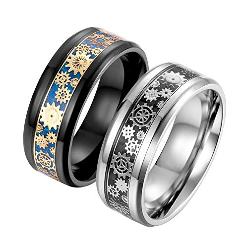 Epinki Stainless Steel Silver&Black Gear Carbon Fiber Rings Couples Rings His Hers Matching Set Promise Anniversary Band Women Size 11 & Men Size 10
