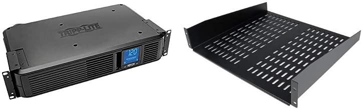 Tripp Lite 1500VA Smart UPS Battery Back Up, 900W Rack-Mount/Tower & StarTech.com 2U Server Rack Shelf - Vented Cantilever Shelf For a Rack or Cabinet - Fixed - 50lbs / 22kg - 19