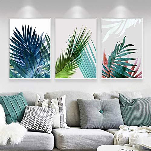 123 Life Pianta verde Wall Art Immagini botaniche Stampe Palm Banana Monstera Piante tropicali Immagini Canvas Wall Art Decor Pittura tropicale Stampa Set Canvas Wall Art Senza cornice 40x60cm