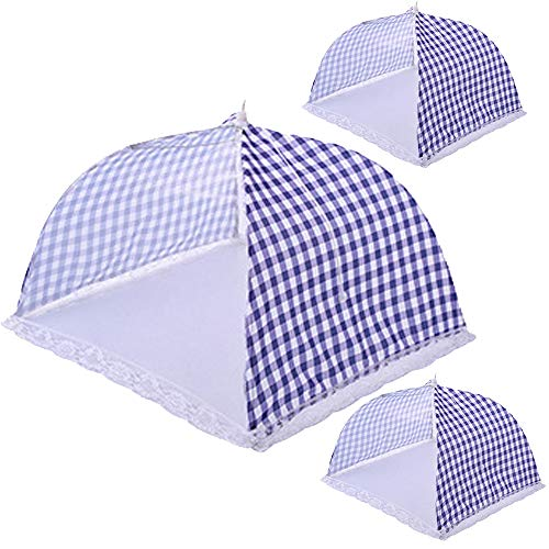 TEERFU 3Pack Pop-up Mesh Food Cover Tent Screen Food Cover Tent Umbrella, Reusable and Collapsible Outdoor Picnic Food Covers Mesh, Food Cover Net Keep Out Flies, Bugs, Mosquitoes Size 32CM