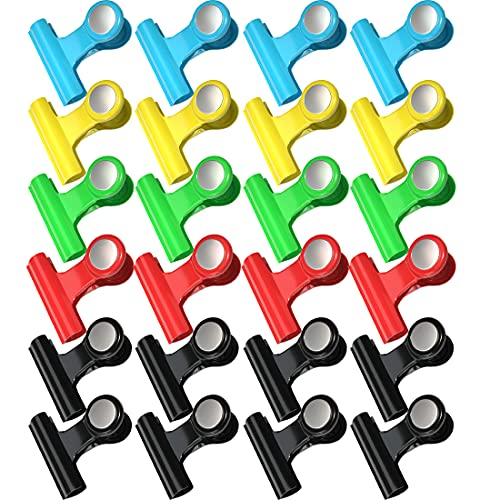 Grwanpen 24 Pack Magnetic Clips ScratchFree Magnetic Metal Hooks Clips Fridge MagnetsRefrigerator Magnets Whiteboard Magnets Magnetic Memo Note Clips