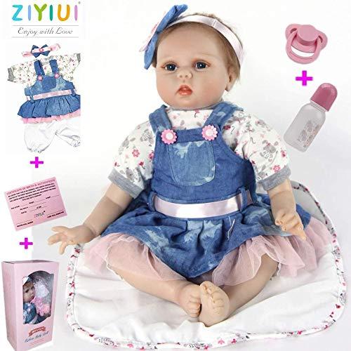 ZIYIUI Muñeca 55cm 22 Pulgadas Muñeca Reborn bebé Niña Vinilo Silicona Niñita Muñecos Bebe Reborn Babys Dolls Hecha a Mano Niños Juguete
