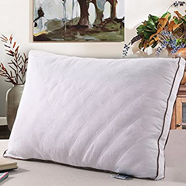 Pillows Sleeping, Gusseted Quilted Bed Pillows Hypoallergenic Cotton Cover, Luxury Feather Fabric Hotel Pillows, Queen Size 20  x 30 , 1 Pack