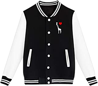 WFIRE Baseball Jacket I Love Giraffe Custom Fleece Varsity Uniform Jackets Coats for Youth