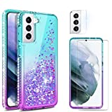Yunerz for Samsung Galaxy S21 Liquid Quicksand Case, Girly Crystal Shockproof Cover Come with Screen Film and Lens Film for Galaxy S21 6.2inch