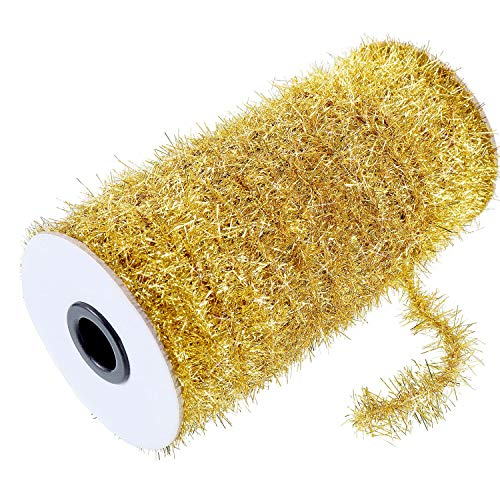 Christmas Tinsel Wire Garland 147.6 ft Thin Glitter Tinsel Wire Metallic Holiday Tinsel Garland Twist Tinsel Garland Decoration for Christmas Tree Birthday Party Wedding Decorations Supplies (Golden)