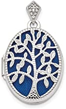 925 Sterling Silver Plate Textured Diamond Tree Photo Pendant Charm Locket Chain Necklace That Holds Pictures Oval Outdoor Nature Fine Jewelry For Women Gifts For Her