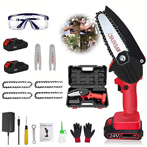 Mini Electric Chainsaw Cordless 4-Inch, 24v Handheld Portable Battery Powered Chain Saws with 2pcs Batteries and 4pcs Chains Small Battery Operated Chainsaw for Tree Branch Wood Cutting, red