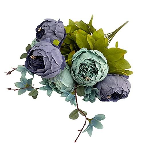 HAOSHICS Flor artificial de seda de peonía, ramo realista de peonía sintética para el hogar, oficina, boda, decoración de fiesta de novia (azul vintage)