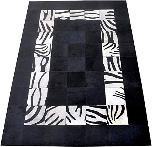 Zerimar Patchwork Stierfell Teppich | Maßnahmen: 240x300 cm | Teppich Schlafzimmer | Teppich Schlafzimmer Vintage | Teppich Design Modern