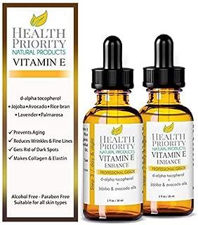 100% Natural & Organic Vitamin E Oil For Your Face & Skin - 15,000/30,000 IU - Reduces Wrinkles & Lightens Dark Spots. Mixed With Jojoba, Avocado & Rice Bran Oils. Liquid D Alpha Tocopherol Serum