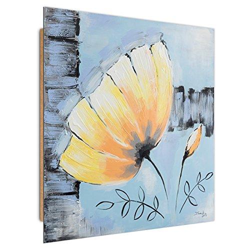 Feeby. Tableau - 1 Partie - 50x50 cm, Décoration Murale Image Imprimée Deco Panel, Nature, Fleur, Jaune, Bleu