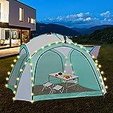 ML-Design Tenda da Campeggio Pavilion 3,5 x 3,5 m con Illuminazione a LED Pannello Solare Telecomando e Borsa per Trasporto Bianco Verde Idrorepellente Protezione UV Tendone per Feste Gazebo Giardino