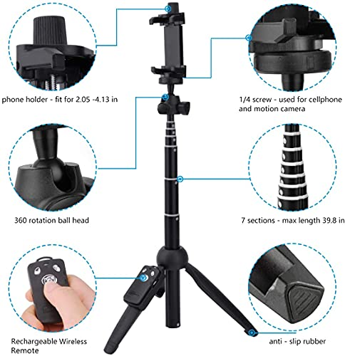 Selfie Stick,40 Inch Extendable Selfie Stick Tripod and Phone Tripod Stand with Wireless Remote,Compatible with iPhone 12 11 Pro Xs X 8 7 6 Plus,Samsung Galaxy S21 S20 S10 S9,Gopro
