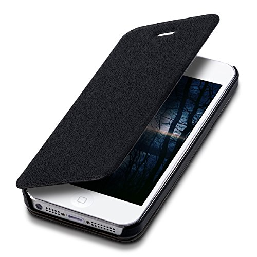 kwmobile Funda Compatible con Apple iPhone SE (1.Gen 2016) / 5 / 5S - Carcasa para móvil de Cuero sintético - Case en Negro