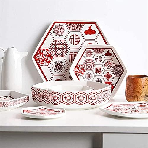 Juego de platos, Conjuntos de vajillas de 18 piezas, conjuntos de cenas de cerámica, conjunto de platos de festival de año nuevo chino y festival de primavera, combinación completa de porcelana para r