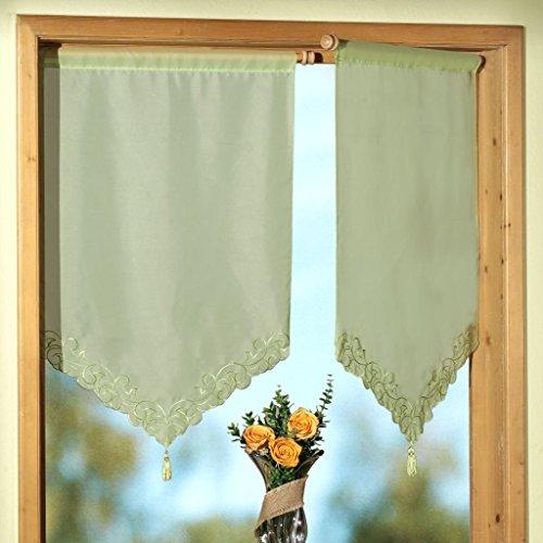 Gardine Scheibengardine für Flügelfenster Schwenkstange - Fensterbild mit Stickerei und Quaste - Ökotex …auspacken, aufhängen, fertig! Vorhang Romantic Chic Typ274