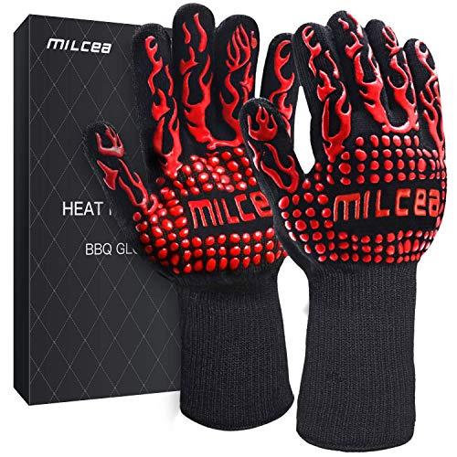 MILcea Grillhandschuhe Ofenhandschuhe BBQ Handschuhe Hitzebeständige Grillhandschuhe Backhandschuhe Topfhandschuhe Kochhandschuhe für Küche & Grill Kochen Backen Schweißen