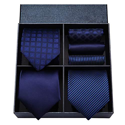 Hisdern HISDERN Los 3 Stck Herren Krawatte Tupfen-Karo Streifen Solid Color Hochzeitsfest-Taschentuch Krawatte und Einstecktuch - Mehrere Sets