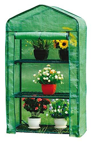 Gewächshaus Klein 128x69x49cm | für optimales Pflanzenwachstum | Mini Gewächshaus mit 3 Etagen | inkl. Gewächshaus folie | Grün Gewächshaus Balkon | Foliengewächshaus Winterfest |