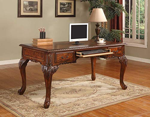 Best Master Furniture Chester Executive Traditional Office Desk With Hand Carved Designs, Walnut