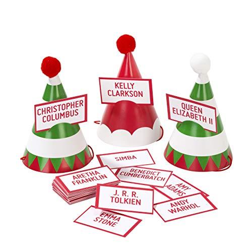 Talking Tables ENT-WHOELFSANTA Kerstmis partyspelletjes | Wie Bin Ik met mini-kerstmuts | Super voor familie, meerdere kleuren