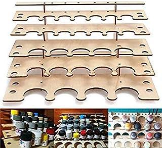 WowObjects 28 Pots Wooden Acrylic Paints Bottle Storage Mixed Rack Holder Modular Organizer