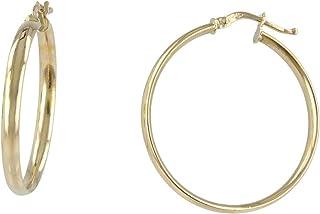 Gioiello Italiano - Orecchini a cerchio in oro giallo 14kt a canna piatta, diametro 3cm, da donna