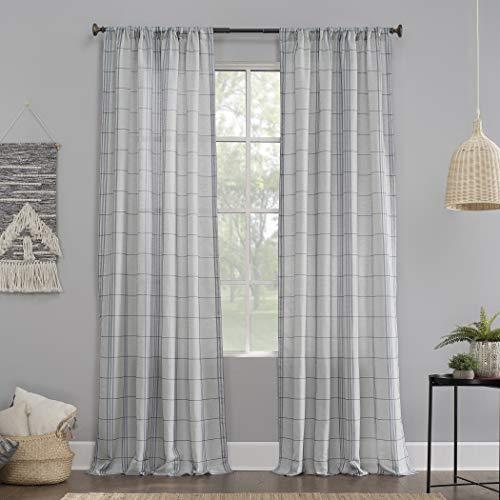 "No. 918 56499 Castille Farmhouse Plaid Semi-Sheer Rod Pocket Curtain Panel, 54"" x 84"", Blue/Linen"