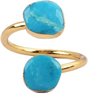 Pretty Natural Turquoise Wrap Adjustable Ring Gold Freeform Genuine Turquoise Ring G0183