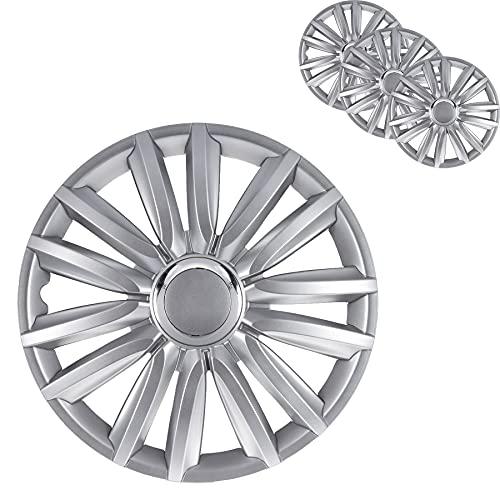 4er Set 15 Zoll Radkappen Silber - Universal Radzierblenden für Autofelgen - Premium Line Zierkappen 15 - Radblenden aus robustem ABS Kunststoff