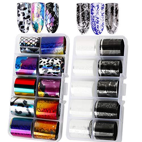VINFUTUR Nail Art Foil, 20 Rollos Pegatinas Uñas Decorativas de 20 Diseños Nail Art Transfer Foil Nail Stickers Holográfico Láminas para Manicuras Diseños DIY Uñas