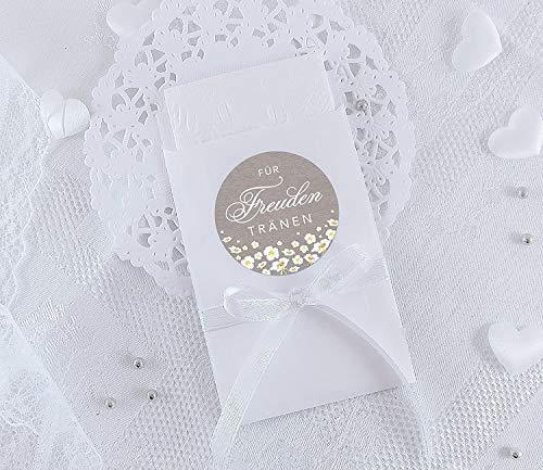 Freuden Tränen Taschentücher Set zur Hochzeit Klein 24 Sticker + 24 weiße Flachbeutel - 63 x 93 mm für Freudentränen Taschentuch Verpackungen Aufkleber in SAND mit weißen Blumen Retro Packpapier Look