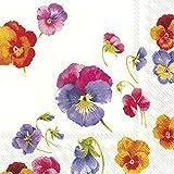 IHR Paulina - Tovaglioli di Carta da tavola con Fiori di Viole e Viola, Confezione da 20, 33 cm, Quadrati