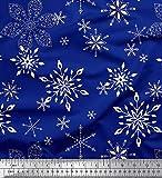 Soimoi Blau Baumwolljersey Stoff Schneeflocken Blumen-