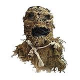 Leobtain Accesorios de Disfraces de Halloween, Horror Adulto Espantapájaros Máscara Arpillera Goma Espeluznante Accesorios de Disfraces