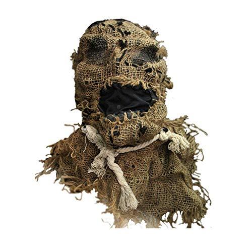 Lophome Máscara de espantapájaros, máscara de Broma, máscara de Horror de arpillera de Goma, Espeluznante Accesorio para Disfraz de Halloween
