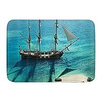 GUKISALA バスマット、オーシャンアイランドの海賊船、マット滑り止め ソフトタッチ 丸洗い 洗濯 台所 脱衣場 キッチン 玄関やわらかマット 45 x 75cm