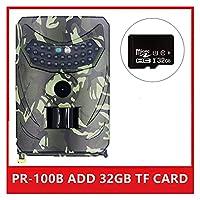 隠しカメラ野生生物監視のために 屋外トレイルカメラ1.2MP 1080P HD野生動物カメラ防水野生動物モニターカムナイトビジョン写真トラップ (Color : PR-100B ADD 32GB)